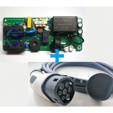 6A 3.7 kW EV charging controller board + Type 2 EV charging cable and plug bundle